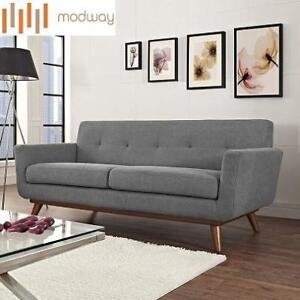 NEW MODWAY UPHOLSTERED LOVESEAT EEI-1179-GRY 140441210 ENGAGE LEXMOD EXPECTATION GREY