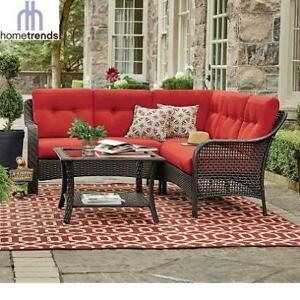 NEW* TUSCANY 4PC SECTIONAL SET LG8209-S4PCRD 209951014 HOMETRENDS WICKER RED CUSHIONS PATIO FURNITURE