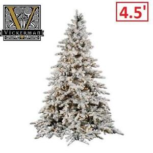 NEW 4.5' ARTIFICIAL CHRISTMAS TREE A895146 212257641 Vickerman Flocked White on Green Clear Lights Pre-lit 4.5'x41""