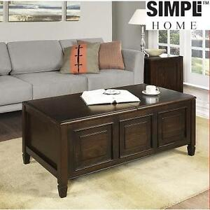 SIMPLY HOME COFFEE TABLE WITH TRAYS CONNAUGHT - DARK CHESTNUT BROWN 100470518