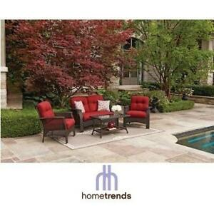 NEW HOMETRENDS TUSCANY PATIO SET 137488418 TUSCANY CONVERSATION SET WITH RED CUSHIONS