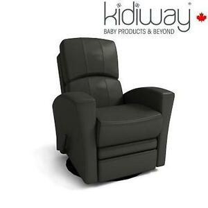 NEW KIDIWAY HABANA LEATHER GLIDER GREY - BONDED LEATHER - 360° SWIVEL - FULL RECLINE 110049551