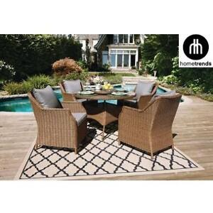 NEW* HOMETRENDS 5 PC DINING SET 137809121 WITH LAZY SUSAN GREY CUSHIONS WICKER DEVON