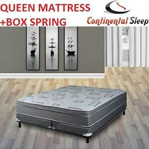 NEW* CS QUEEN MATTRESS + FOUNDATION CONTINENTAL SLEEP FOAM ENCASED 10'' ORTHOPEDIC MATTRESS - 5'' SPLIT BOX SPRING