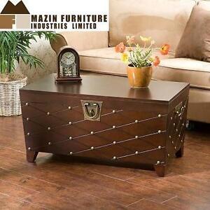 NEW MAZIN COCKTAIL TABLE TRUNK - 107250361 - ESPRESSO - MAZIN FURNITURE COFFEE TABLE