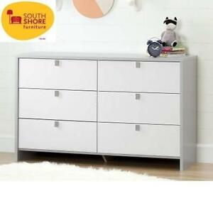 NEW SOUTH SHORE 6 DRAWER DRESSER 10276 213983027 SOFT GRAY PURE WHITE COOKIE