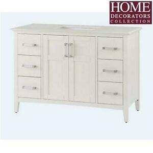 NEW* 49 BATHROOM VANITY NL-WINSTON-WH-48-2A 239102030 HOME DECORATORS WHITE BAYWIND WHITE