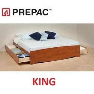 NEW PREPAC KING PLATFORM BED CHERRY STORAGE BED WITH 5 DRAWERS 101318116