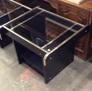 Black and Glass End Table