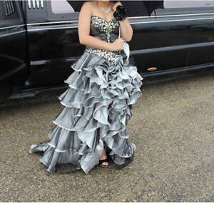 Grey and White Prom Dress (inside cheetah print)