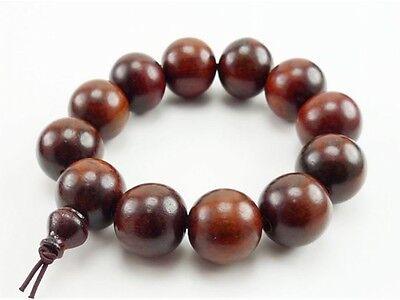 "Huge Tibetan 12 20mm Rosewood Yoga Meditation Prayer Beads Mala Bracelet -7"""