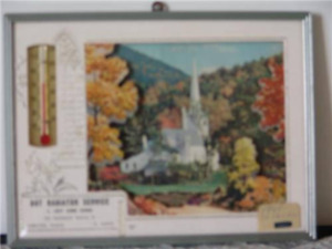 Vintage Frame Litograph Advertisement Picture Thermometer Calend