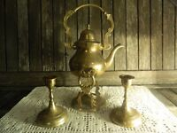 Antique Small Embossed Tilting Brass Tea Kettle with Stand Matching Pair of Candle Holders Active