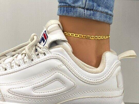 14K Gold over 925 Sterling Silver 3.5MM Mariner Chain Anklet - For Women