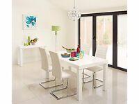 Gloss white Morano Dining Table & 4 purple Alcora Chairs £175