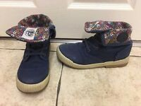 NEXT girls navy & floral canvas ankle boots size 2