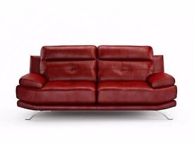Harvey's Genoa Red Leather 3 and 2-seater sofas for sale