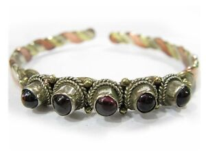 Delicate Tibetan 3-Color Copper 3 Natural Garnet Gemstone Amulet Cuff Bracelet