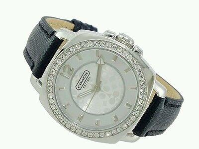NEW! COACH Women's Mini Boyfriend Black Leather Strap Watch 34MM Style 14501789