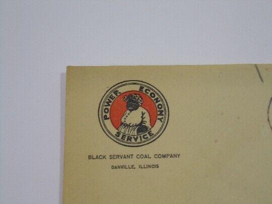 Vintage Black Americana Black Servant Coal Company Envelope 1923 Danville, IL