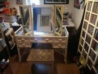 Mirrored dressing table with matching seat and adjustable 3 sided morror