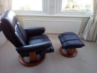 reclining leather look chair with stool