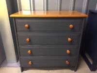 Pine Chest of 4 Drawers Hand Painted in Graphite Mineral Paint.