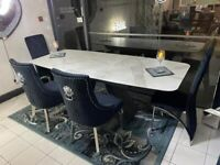 Ex Display White Ceramic Dining Table And 6 Majestic Black Velvet Lion Back Dining Chairs