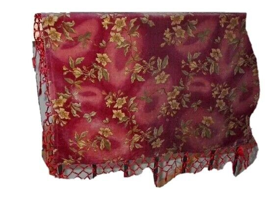 Antique Red Velvet Textile Edwardian Victorian Piano Coverlet Cloth Fabric