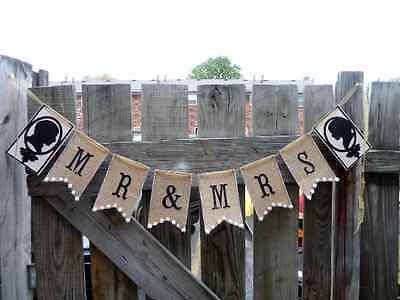 Mr & Mrs~Wedding Banner~Burlap~Garland~Country~Rustic elegant Chic~Handmade  - Burlap Wedding Banners