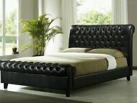 Kingsize Faux Leather Chesterfield Bed 5FT Black