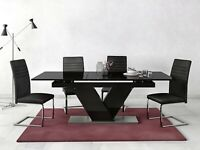 HARVEYS Nero Extending Dining Table BLACK