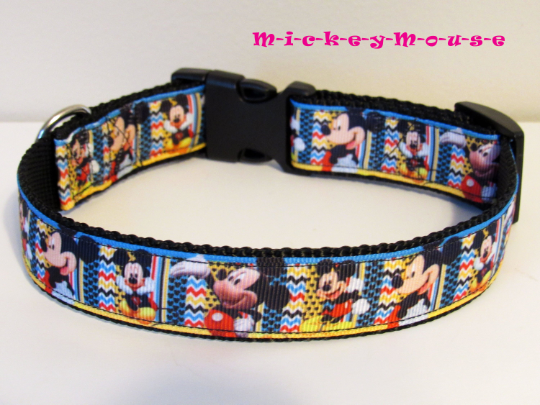 MIckey Mouse Adjustable Dog Collar Disney Medium or Large