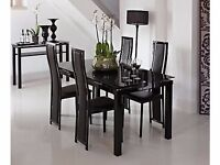 noir glass table and 6 chairs