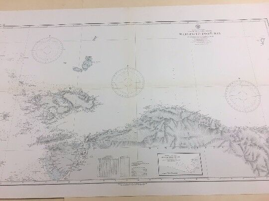 Vintage Hydrographic Map, Nautical Chart of Waigeo To Dore Bay, New Guinea
