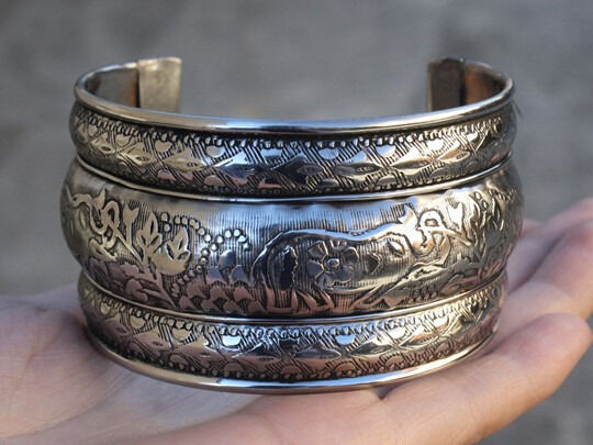 Giant Indian Copper 3 Elephant Lotus Engraved 3 Bulging Bands Cuff Bracelet