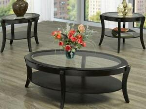 3pc Coffee Table Set with glass top (IF252)