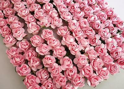 144 Mulberry Paper Rose Flower Bouquet/wire stem/Craft/Card Makin H420-Baby Pink ()