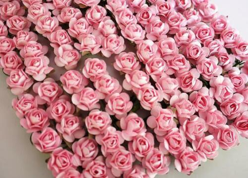 144 Mulberry Paper Rose Flower Bouquet/wire stem/Craft/Card Makin H420-Baby Pink