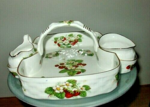 SPODE HAMMERSLEY BONE CHINA STRAWBERRY RIPE BASKET WITH CREAM AND SUGAR