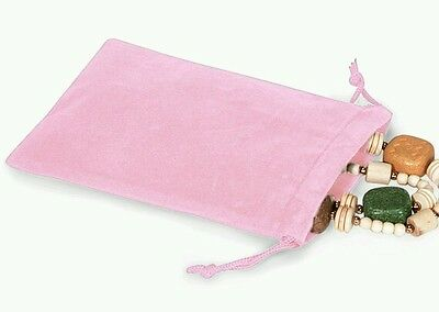 25 Pink Velour Gift Bags 4x5.5 Drawstring pouches Baby Easter Holiday Favors](Baby Gift Bags)