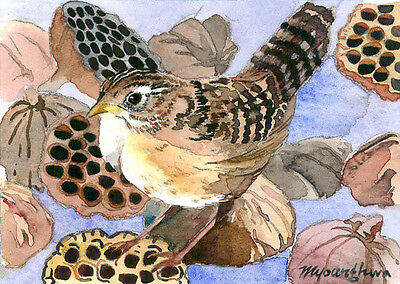 ACEO Limited Edition - Among the lotus pods, Art print, Gift for bird lovers, Wr