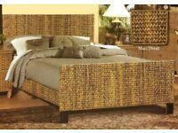 Natural Rattan double bed frame