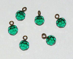 VINTAGE BEADS EMERALD GREEN FACETED CORONA SWAROVSKI FACETED GLASS BEAD 6mm