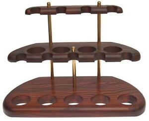 9-Smoking-Pipe-Pipes-Stand-Rack-Hold-Case-Display-Wood