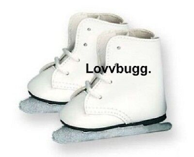 "Lovvbugg White Ice Skates Doll Shoes for 18"" American Girl"
