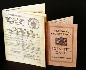 WW2-Wartime-1940's Evacuee REPLICA  Ration Book & ID Card Great 4 school project