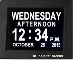 Clear Clock Digital Memory Loss Calendar Day Clock With Optional Day Cycle