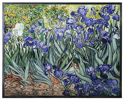 """Van Gogh """"IRISES"""" Floral Stained Art Glass Window Panel Hanging Display"""