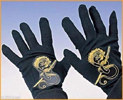 Kinder Ninja Black Samurai Warrior Fighter Handschuhe Hände Kostüm Zubehör - Ninja Warrior Kind Kostüm